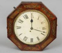 An early 19th century brass inlaid rosewood cased fusee wall clock Of octagonal form, the white dial