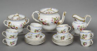 A 19th century French porcelain tea set With painted floral decoration and gilt heightening,