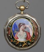 A 19th century Continental white metal cased and enamel decorated pocket watch by Romilly & Cie,