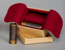 A boxed pair of 20 bore snap cap caps made from damascus barrels Each with inscription to the