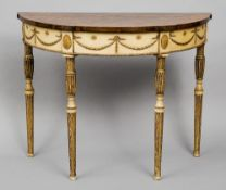 A Georgian inlaid mahogany painted and parcel gilt demi-lune side table The top with a central