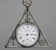 A silver pocket watch, of Masonic interest The circular frame with Masonic motifs, the white