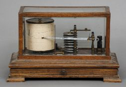 An early 20th century oak cased barograph