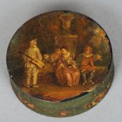 An early 19th century French painted tortoiseshell snuff box Of circular form, the lid decorated
