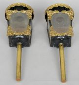 A pair of 19th century coach lamps, possibly for the interior The domed pressed brass top above