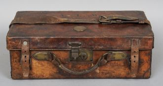 A 19th century leather cartridge case by W. Richards, Liverpool The hinged cover initialled ALW