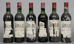 Chateau La Tour de Mons Margaux 1970 Six bottles.  (6) CONDITION REPORTS: Various losses to