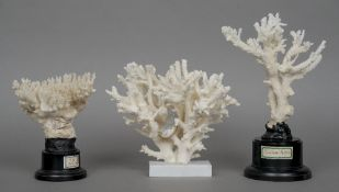 Three coral specimens Of varying forms and sizes, each mounted on a display stand.  (3) CONDITION