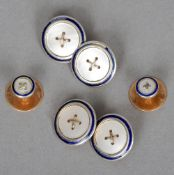 A pair of 18 ct gold mother-of-pearl set cufflinks Each of circular form with a blue enamel band;