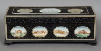 A 19th century Anglo-Indian unmarked silver mounted carved hardwood humidor Inset with thirteen oval