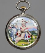 A Doxa erotic pocket watch The circular dial with Arabic numerals, painted with a couple having a