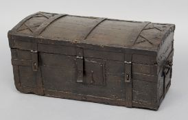 An early 18th century Scandinavian travelling trunk The domed top with iron strapwork.  70.5 cm