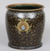 A Japanese cloisonne vase Decorated overall with lotus strapwork.  24. 5 cms high. CONDITION