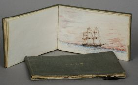 C.W. (20th century) British Naval Battle Ships Two sketchbooks of watercolours Signed with