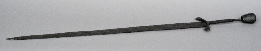 A late 14th century European medieval sword, in excavated condition but cleaned by electrolysis