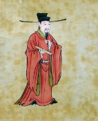 CHINESE SCHOOL (19th/20th century) Scholars  Gouache on linen The largest 19 x 32 cm, framed and