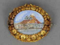 A 19th century yellow metal brooch