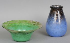 A Monart glass bowl and a Monart glass vase The large flared circular bowl with mottled green
