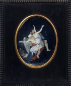 A 19th century miniature on ivory  Ascending to heaven, depicting a young girl carried by an