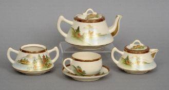 An early 20th century Japanese Taisho Period Satsuma six piece tea service Each piece typically