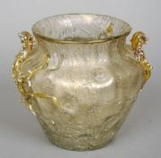 An Art Nouveau naturalistic iridescent vase With organic decoration forming two handles.  14 cm