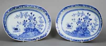 A pair of 18th century Chinese blue and white Export porcelain dishes Each typically decorated