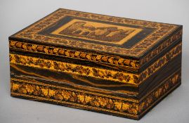A Victorian Tunbridgeware work/writing box The hinge lid decorated with a view of Bayham Abbey,