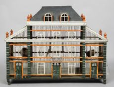 A 19th century French architectural bird cage Formed as a chateau with painted decoration.  105 cm