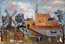 A 19th century Folk Art straw work picture  Depicting a large moated building with fishermen and