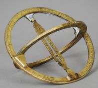 A 19th century brass universal equinoctial ring dial The meridian ring with graduated Roman