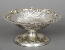 A Victorian silver tazza, hallmarked Chester 1895, maker's mark of JD WD With pierced and embossed