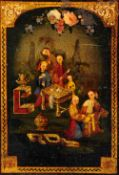 A chinoiserie decorated metal panel Depicting figures drinking tea in a garden setting, framed.