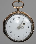 A 19th century diamond set, gold verge pocket watch The white enamel dial with Arabic numerals,