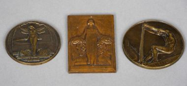 An Art Nouveau bronze plaque Depicting a woman holding flowers, signed R. Benard; together with