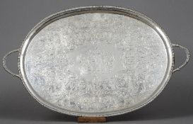 A George III silver tray, hallmarked for London 1806, maker's mark of WB Of twin handled oval
