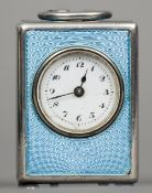 A Continental 935 silver blue enamel decorated miniature carriage clock 4.75 cm high. CONDITION