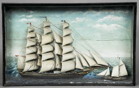 A 19th century ships diorama The glazed rectangular case enclosing the three masted ship Agnes and