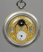 A 19th century French silver Lepine Paris pocket watch 7 cm diameter. CONDITION REPORTS: Overall