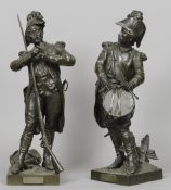 A pair of 19th century patinated bronze models of French soldiers One entitled Avant le Combat