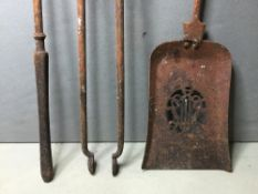 A set of three 19th century polished steel fire irons Of straight knopped form,