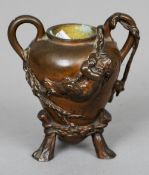 LOUIS ERNEST BARRIAS (1841-1905) French A bronze twin handled inkwell Moulded with putto climbing