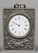 A Continental silver pendant watch Of rectangular slab form, the top with a suspension loop.  6.5 cm