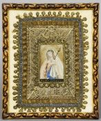 An 18th century reliquary panel Centred with a portrait of the Virgin Mary, inscribed Mater