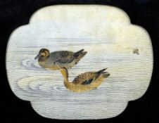A Japanese embroidery panel Depicting two ducks and a dragonfly, framed and glazed.  85 cm wide.