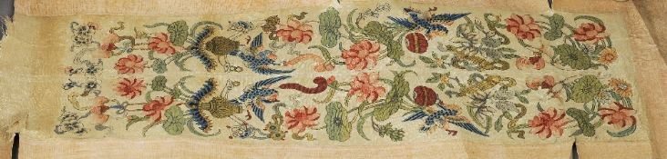 A pair of Chinese Kesi sleeve panels  Worked with exotic birds interspersed with floral sprays,