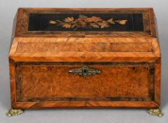 A Victorian marquetry inlaid burr walnut tea caddy
