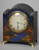 A 19th/early 20th century chinoiserie lacquered mantle clock The silvered dial inscribed Carrington,