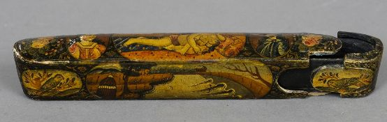 An 18th century papier mache pen holder Of typical form, the top decorated with an erotic scene.  22
