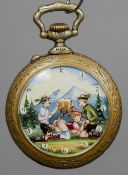 A Continental erotic pocket watch The reverse decorated with mountain climbers, the dial decorated