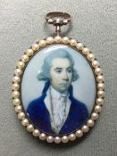 A George III portrait miniature of a young gentleman